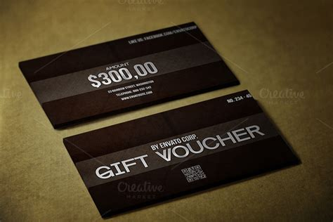 Creative Market Gift Card - black style gift voucher card templates on creative market