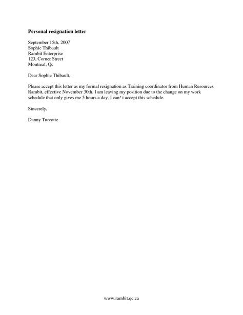 Resignation Letter Personal Circumstances how to write a resignation letter due personal reasons