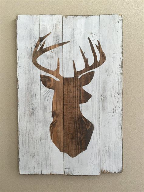 Deer Patterns And Wood Wall Design On Pinterest | white distressed deer head silhouette from mellisajane on etsy