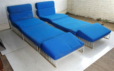 mid century outdoor lounge chairs pair of mid century modern wire iron cage chaise lounge