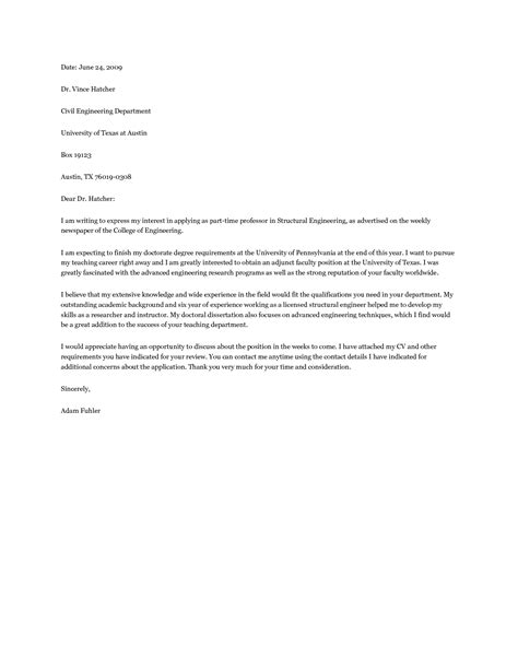 Faculty Cover Letter Exles by Best Photos Of Cover Letter For Adjunct Teaching Position Adjunct Faculty Cover Letter
