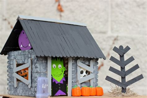 How To Make A Haunted House Out Of Paper - popsicle stick haunted house happily everly after