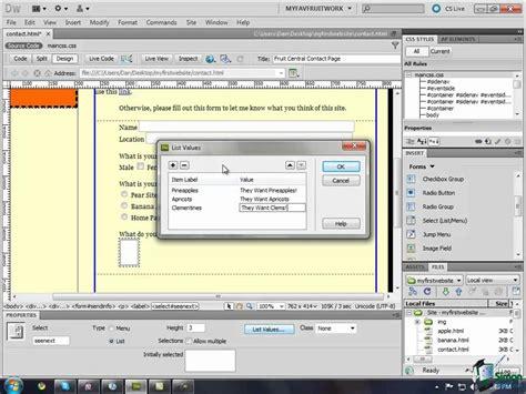 tutorial for dreamweaver cs5 dreamweaver cs5 training tutorial creating