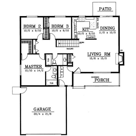 1 story 3 bedroom 2 bath house plans ranch style house plans 1314 square foot home 1 story