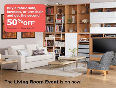 living room events ikea canada buy a fabric sofa armchair or loveseat and get the 2nd 50 off canadian