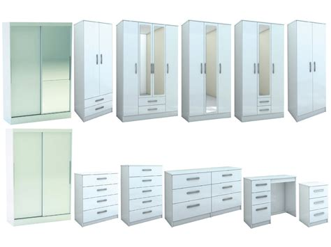 all white bedroom furniture lynx all white gloss bedroom furniture wardrobe chest by birlea large sizes ebay