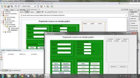 tutorial java netbeans interfaz grafica vectores desde interfaz gr 225 fica en netbeans 7 3 1 youtube