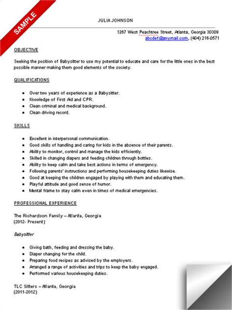 Babysitting Resume Exles by Resume Sle