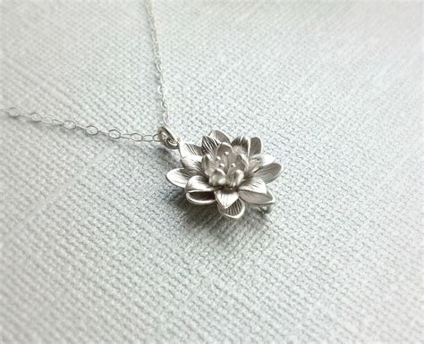 Liontin Silver Lotus Flower Pendant back in stock small silver lotus flower necklace simple