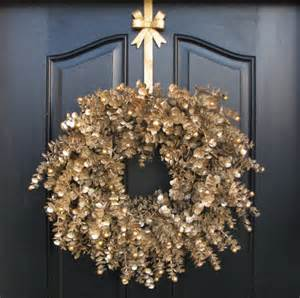gold glitter wreath christmas wreath holiday by twoinspireyou