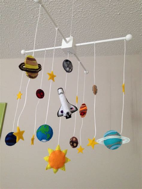 Handmade Baby Mobile Ideas - nursery decor diy handmade felt solar system space