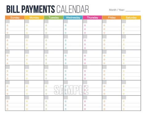 free bill calendar template the world s catalog of ideas