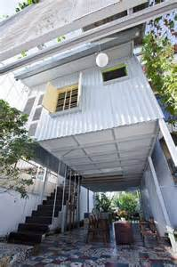 sheet metal homes industrial steel stilt home with open primary level