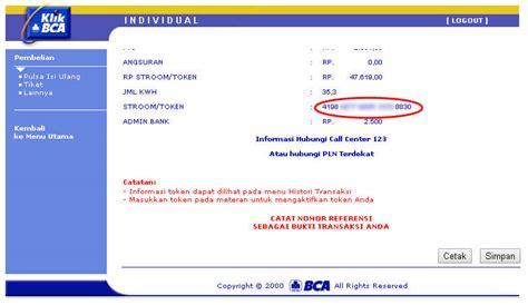 Token Listrik 50 000 pembelian pulsa pln prabayar melalui klikbca riftom info