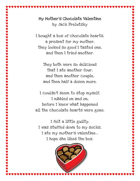 silly valentines poems literacy minute poem printable free