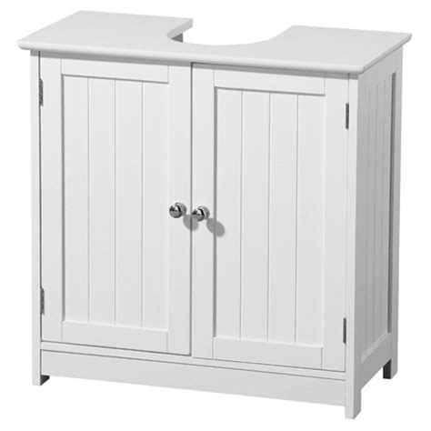 white wood sink cabinet at plumbing uk