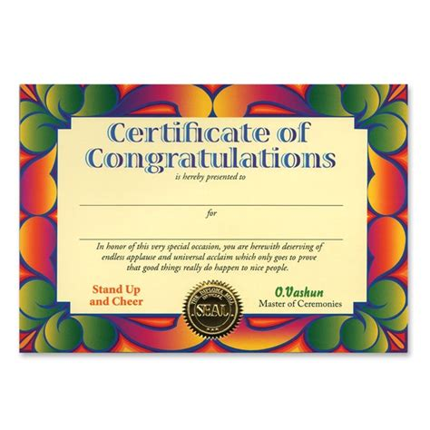 certificate of congratulations award certificates partycheap
