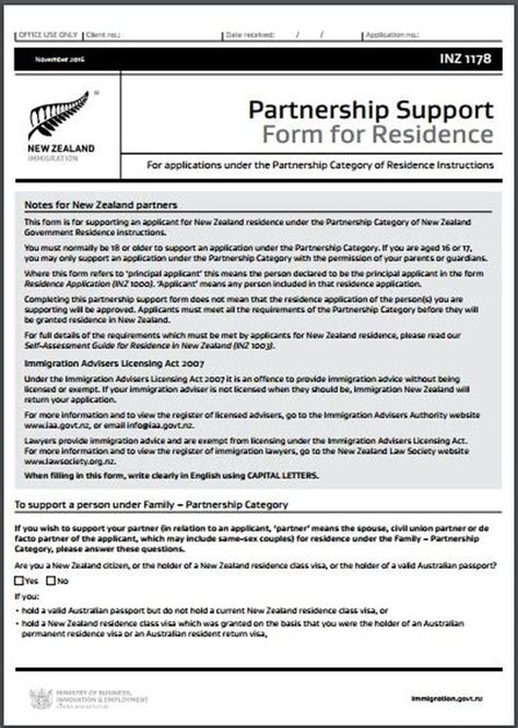 Support Letter For Partnership Visa Nz Inz1178 Partnership Support Form For Residence All Immigration Matters Including Temporary