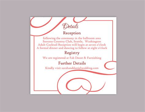 Editable Information Card Template by Diy Wedding Details Card Template Editable Text Word File