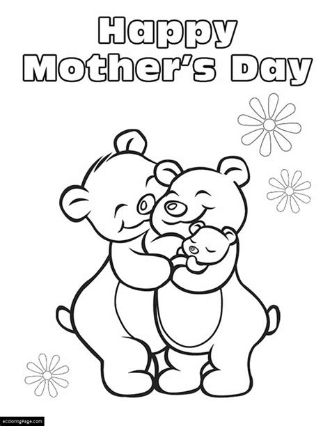 Happy Mothers Day Family Of Bears Printable Coloring Page Family Day Coloring Pages