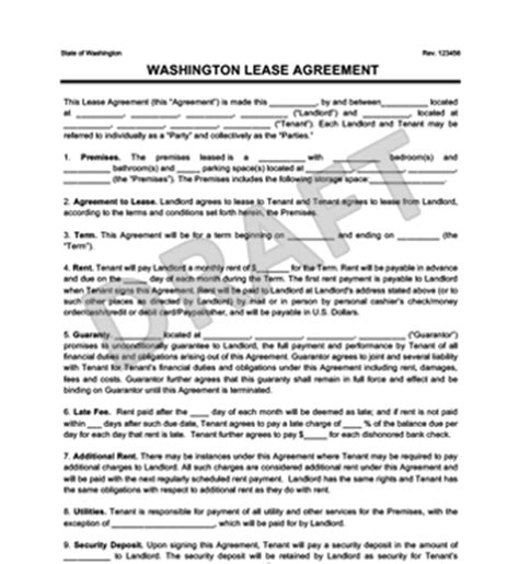 Washington State Residential Lease Agreement Create Download Free Washington State Rental Agreement Template