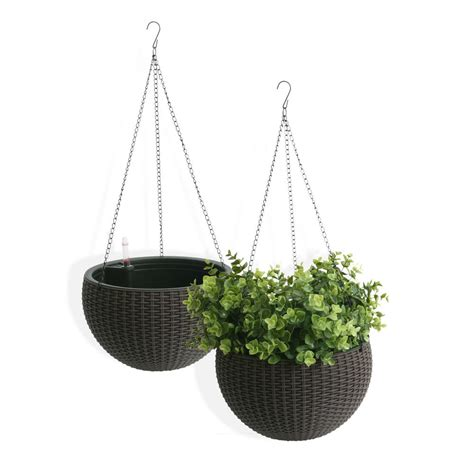 hanging planter algreen self watering wicker brown plastic hanging planter