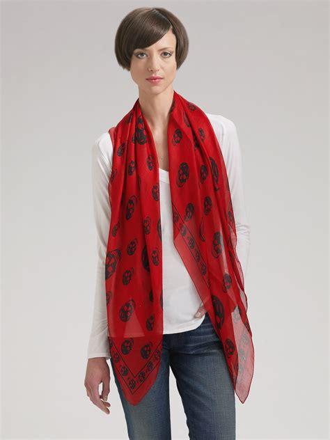 mcqueen classic skull silk chiffon scarf in