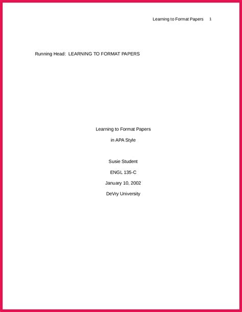 Apa Format Essay Title Page by Apa Format Title Page Exle Sop Exles