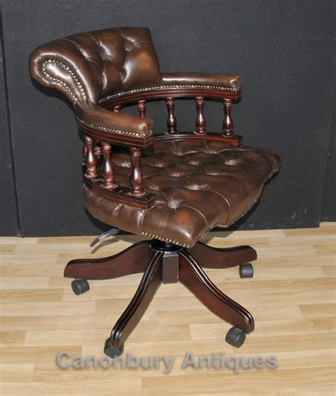 Victorian Captains Chair Office Swivel Desk Chairs With Swivel Leather Desk Chair