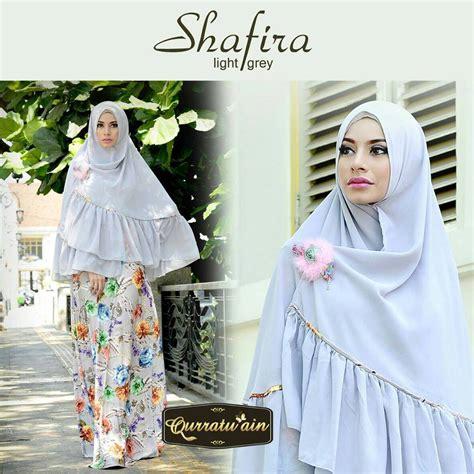Khimar Syar I Shafira Terlaris shafira light grey baju muslim gamis modern