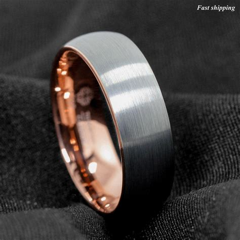 8mm tungsten ring silver brushed gold inlay wedding