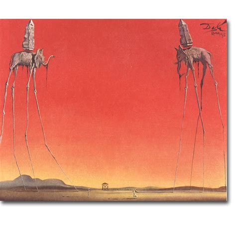 dali 16 art stickers the elephants salvador dali artwork art silk poster print 13x16 24x30 inch abstract picture for
