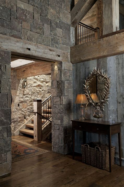 mountain home entry stairs  rock  wood