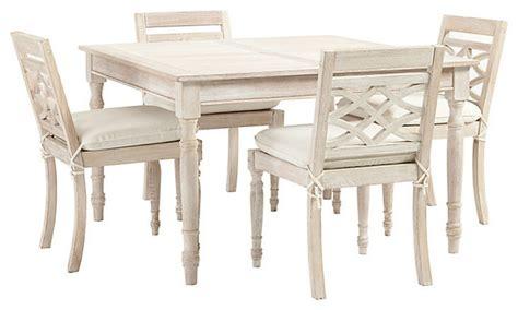 ceylon whitewash 5 square dining set traditional