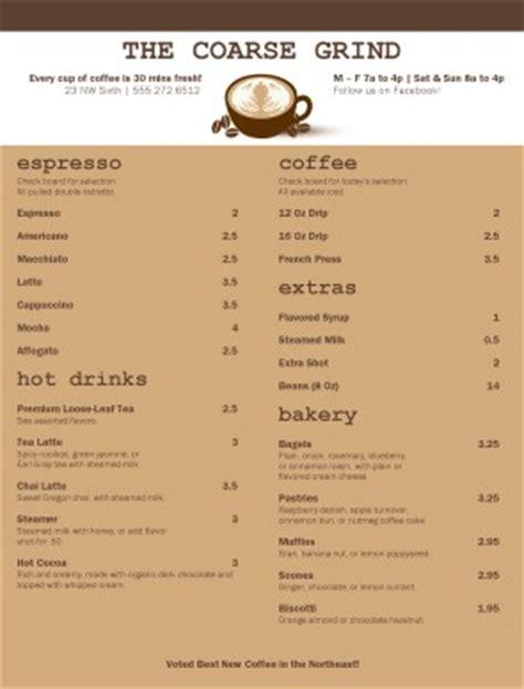 Mocha House Menu by Customize Traditional Coffee Menu