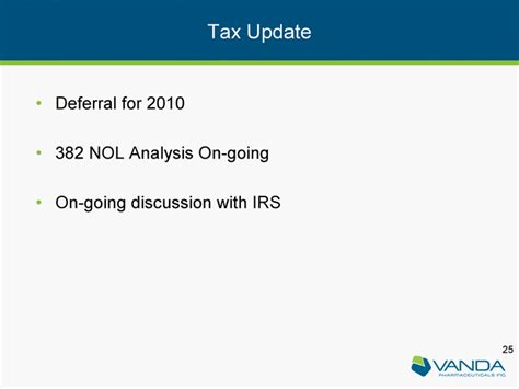 Irs Code Section 382 by Vanda Pharmaceuticals Inc Form 8 K Ex 99 1 March 9