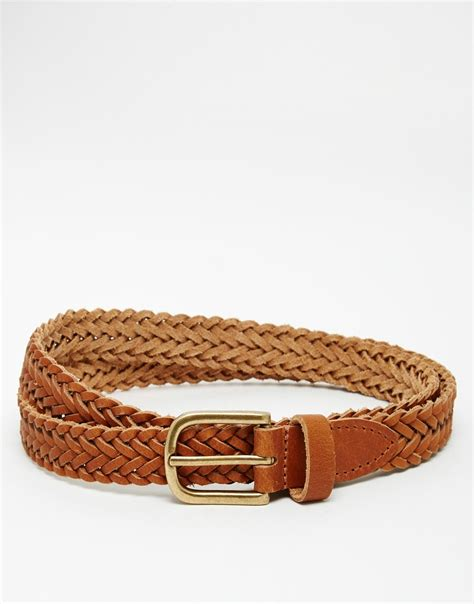 asos leather plaited belt in in metallic for