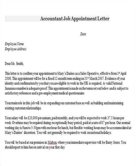 appointment letter format of accountant appointment letter format