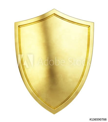 36 Gold Script Shape gold shield icon isolated on white background 3d illustration buy this stock illustration and