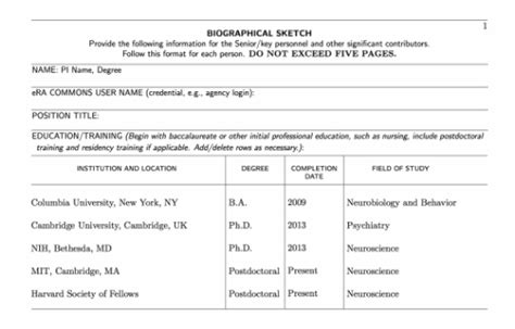 Nih Biosketch Template by 26 Nih Biosketch Template Word Nih Biographical Sketch