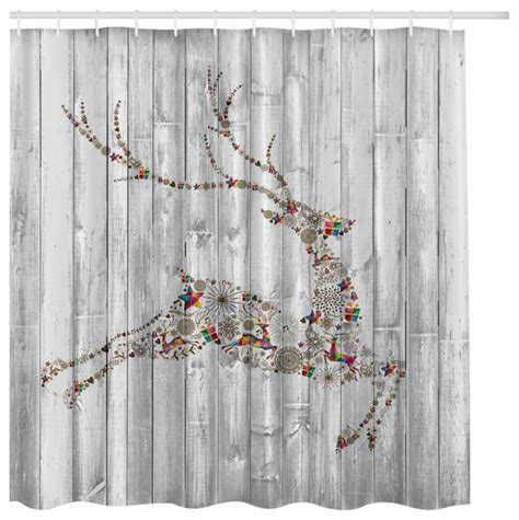 christmas curtains 77 white washed wood with christmas holiday reindeer fabric