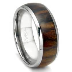 Wedding Band 8mm by Titanium 8mm Domed Santos Rosewood Inlay Wedding Band Ring