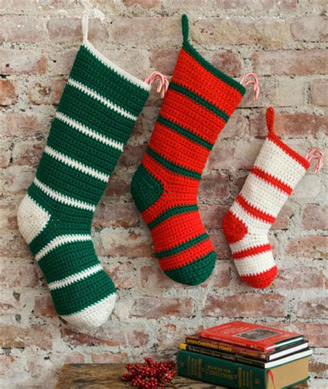 simple crochet pattern for christmas stocking simple striped santa stockings favecrafts com