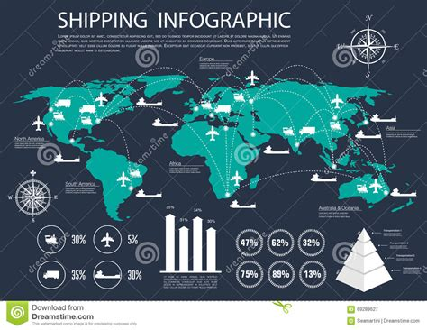 design by humans international shipping global shipping and logistics infographics stock vector