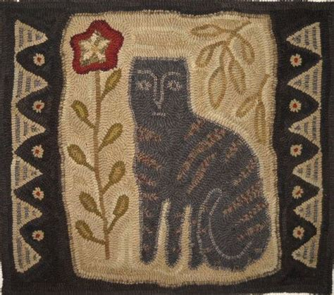 primitive rug hooking primitive cat hooked rug maggiesfarm1846 cats rugs and black cats