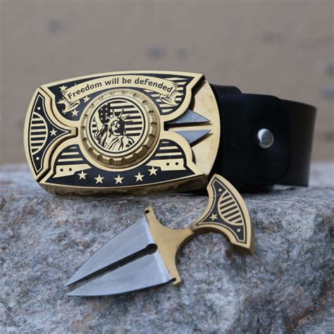 belt buckle blade buckle knife belt with 2 knives stainless steel buckle