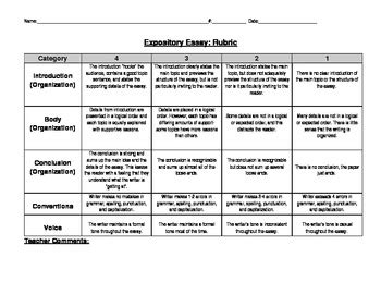 sle of expository essay expository essay rubric 5 categories by amanda finnerty tpt