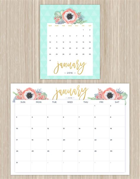 Calendar Coupons Printable Calendars For A More Floral 2016 Ftd Flowers