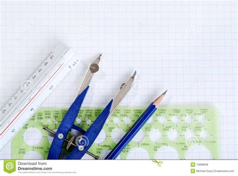 graph tools drafting tools on graph paper royalty free stock photos