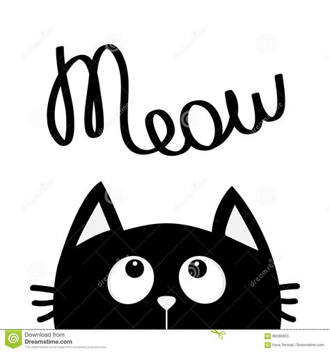 imagenes kawaii a blanco y negro black cat looking up to meow lettering text cute cartoon